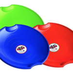 Flexible-Flyer-3-pack-Snow-Saucer-Sleds red, tree, and blue
