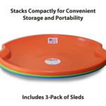 Flexible-Flyer-3-pack-Snow-Saucer-Sleds stack of three