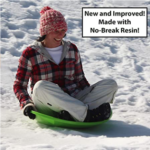 Flexible-Flyer-3-pack-Snow-Saucer-Sleds adult in snow