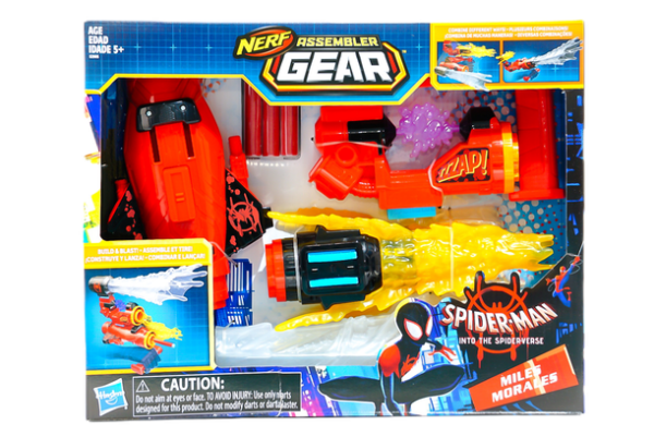 HASBRO-SPIDER-MAN-NERF-MILES-MORALES-ASSEMBLER-GEAR front of box