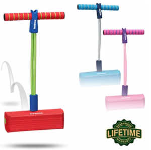 New-Bounce-Pogo-Stick-for-Kids in blue, pink, and red