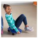 Plastic-Floor-Scooter-Board-With-Rollers girl sitting on blue scooter