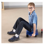Plastic-Floor-Scooter-Board-With-Rollers blue boy sitting on scooter