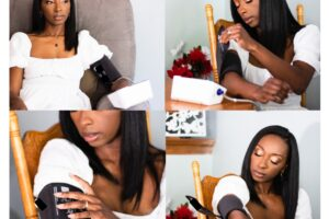 4 picture collage of Angelica Chapman using blood pressure monitor