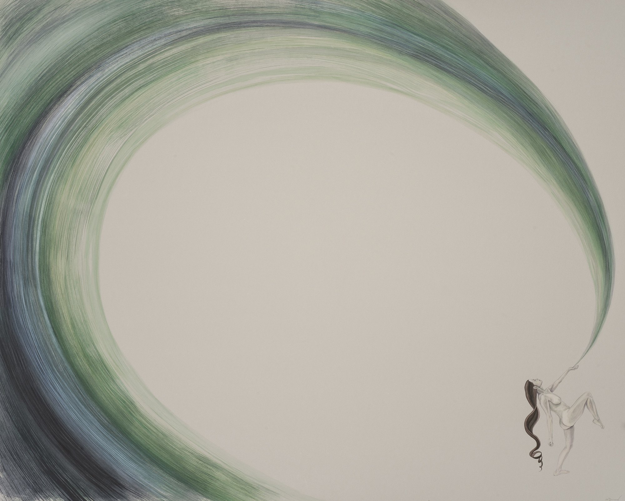 A marching woman releases a wave which forms a great nothing in the center of the composition