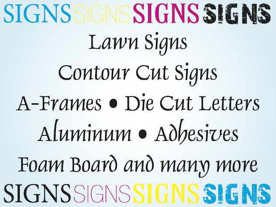 Signage and sign printing