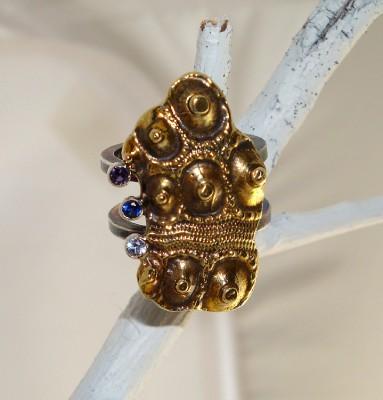Sapphire Sea Urchin Ring