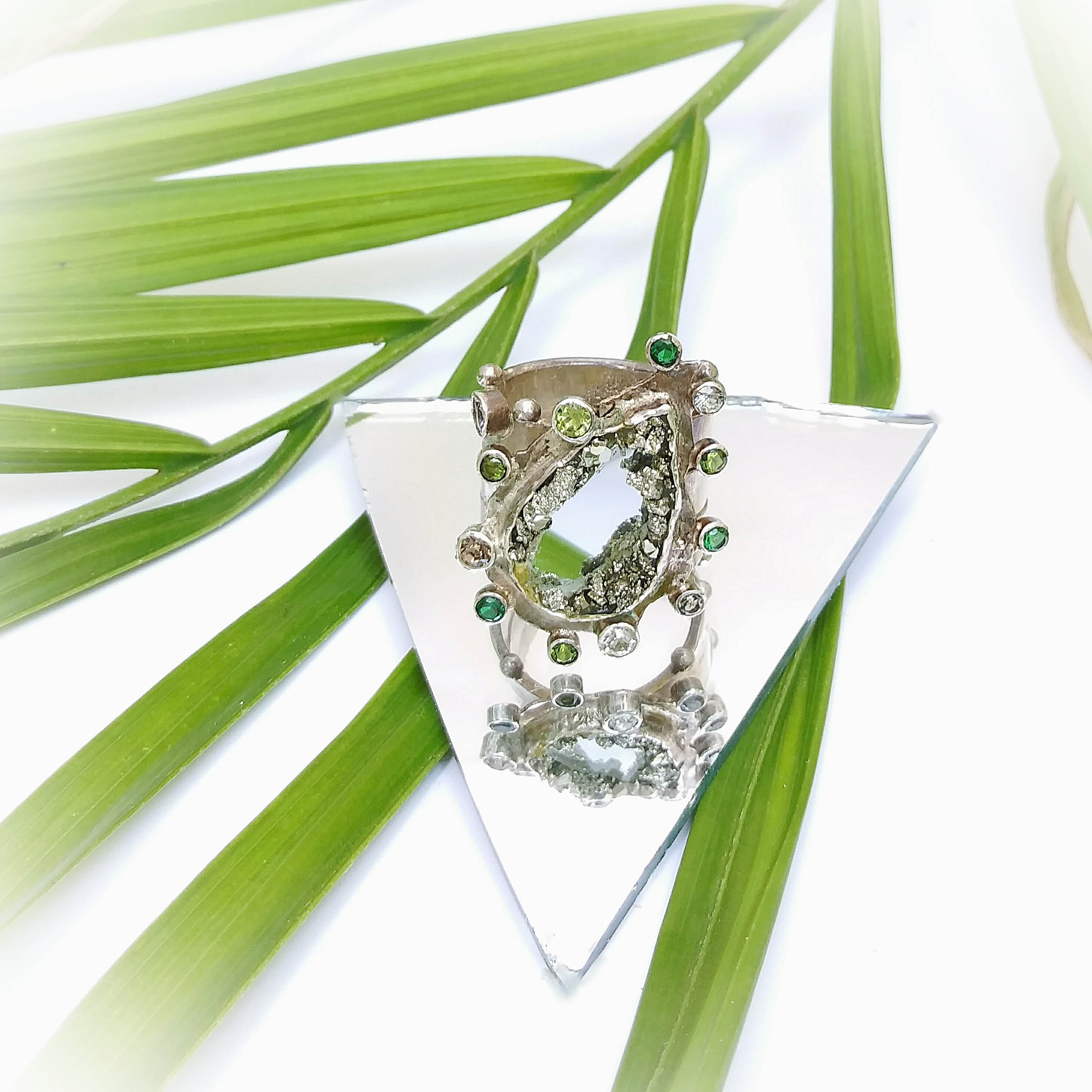 Pyrite Teardrop Ring