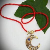 Lapis & Sapphire Moon Necklace