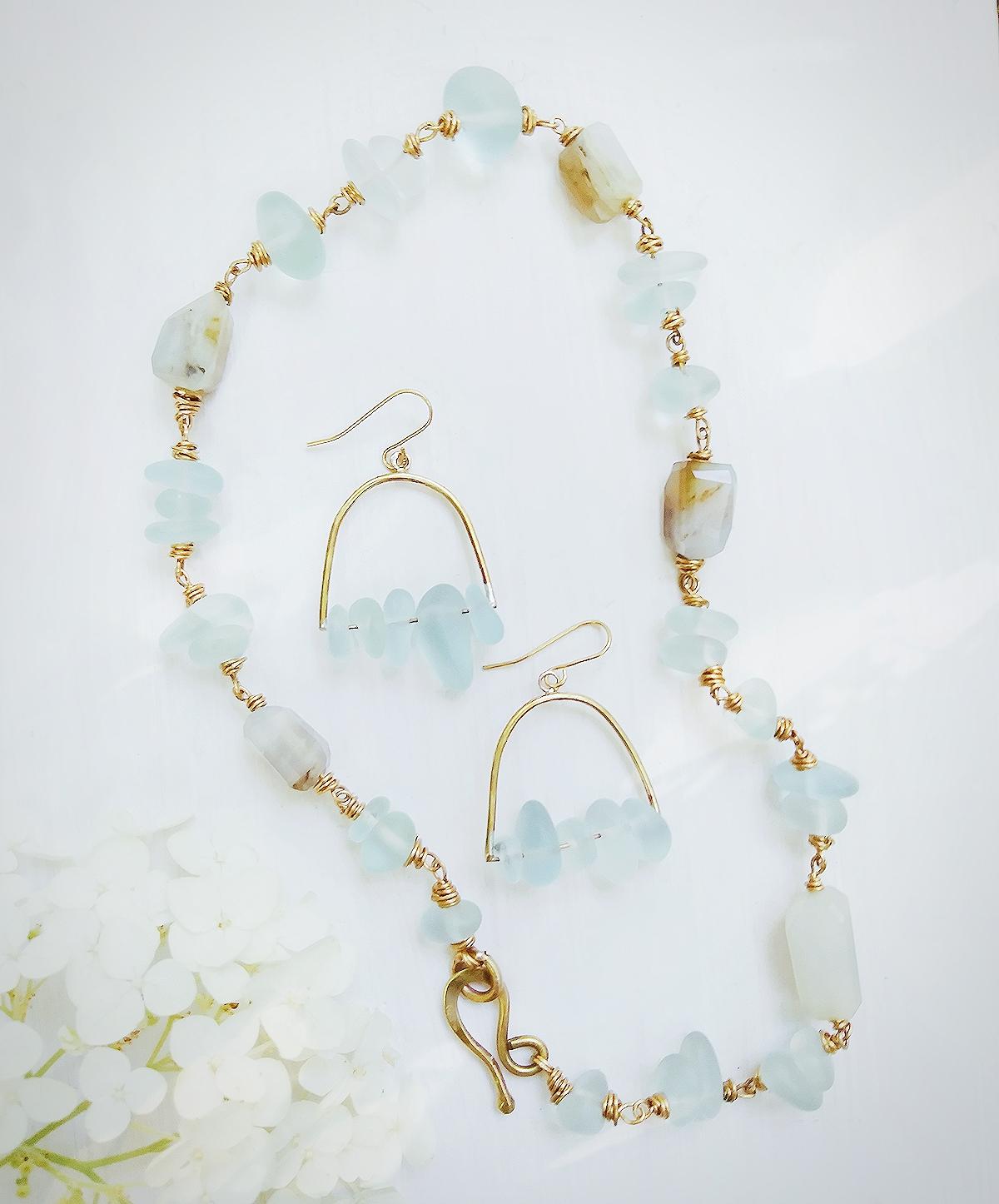 Aqua Sea Glass Set