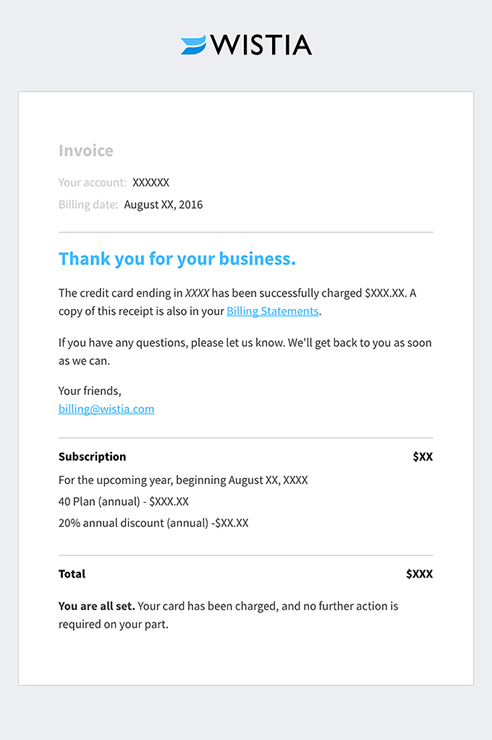eCommerce Thank You email