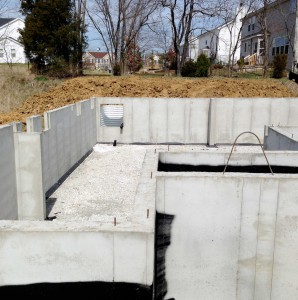recently poured basement foundation