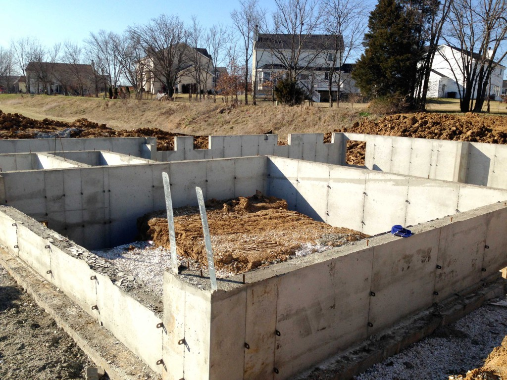 basement foundation walls have been poured
