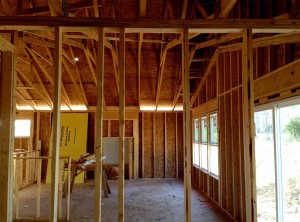 framed kitchen and living room