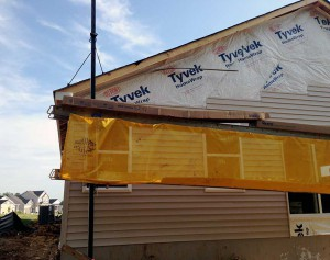siding installation on the back of home