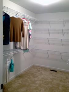 extra ClosetMaid shelving in master closet