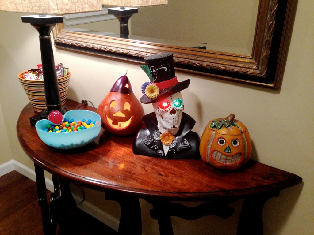 foyer decor and Halloween candy