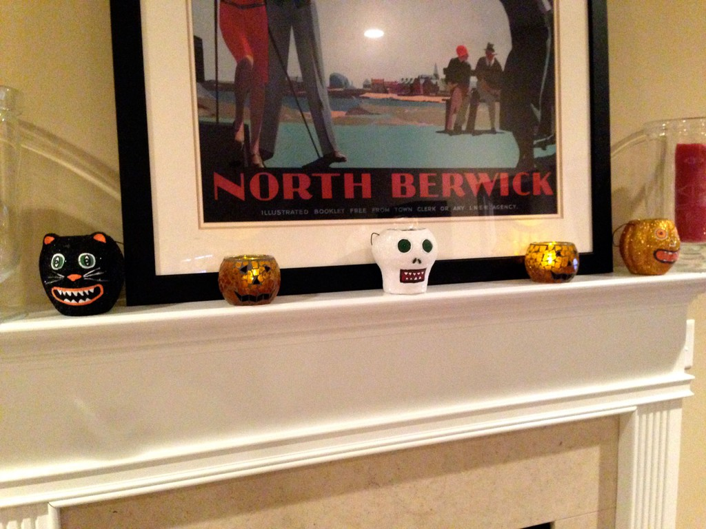 Halloween mantle with battery candles