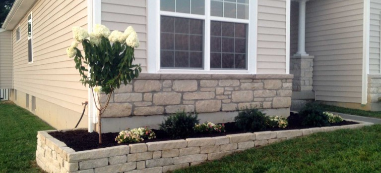 complete stone wall side view