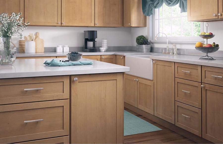 kitchen with brushed nickel hardware