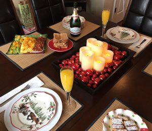 Christmas breakfast with holiday plates