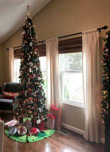 tall narrow Christmas tree