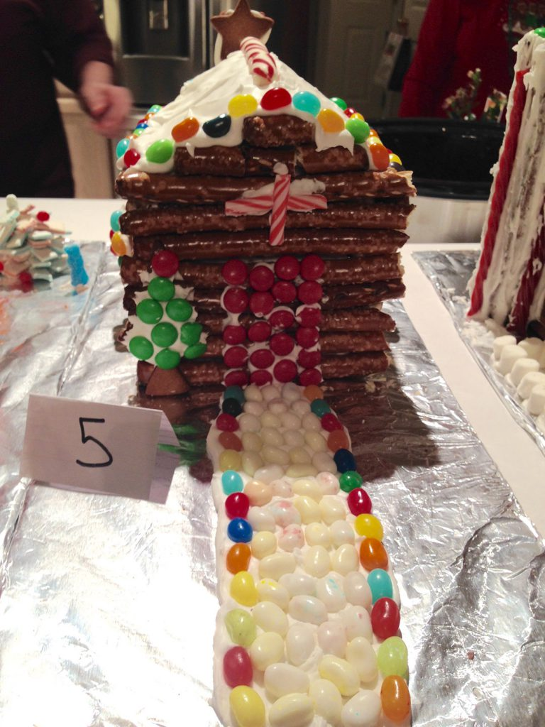 A freshly made gingerbread house.