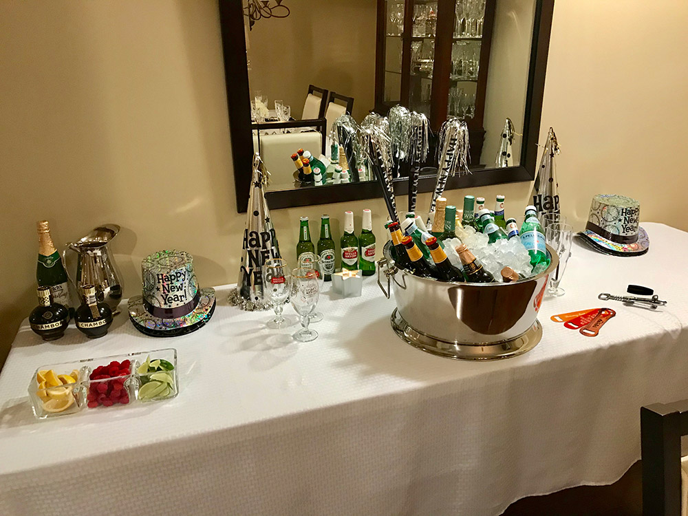 A table full of drinks.