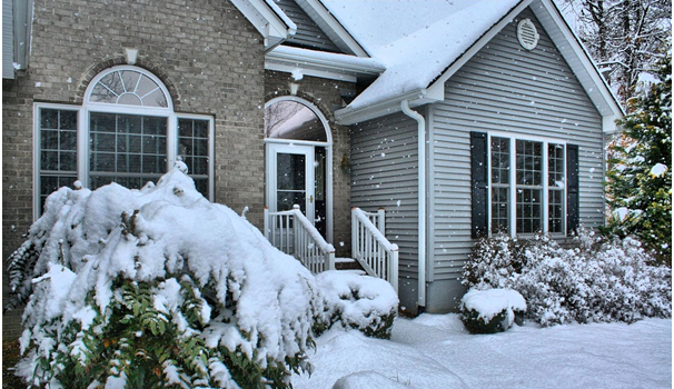 Exterior of a home in snowy weather