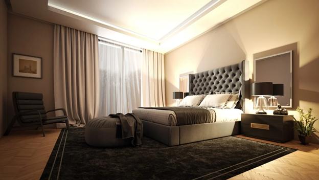 Bedroom with floor length velvet curtains