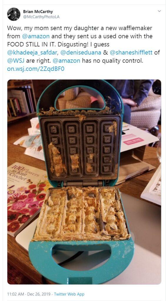 amazon customer return waffle maker sold as new
