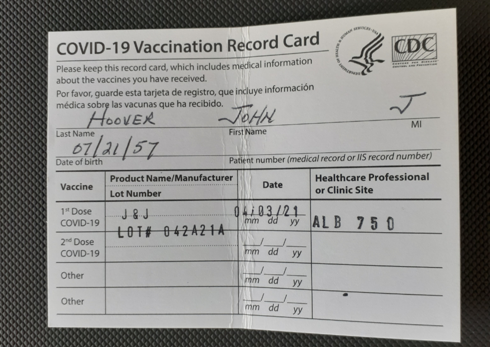 John Hoover Vaccination Card