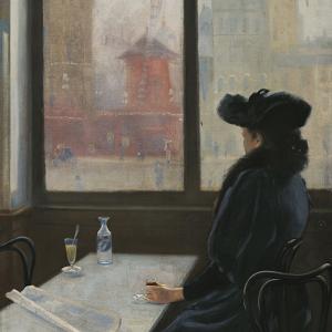 Dama en un café frente al Moulin Rouge