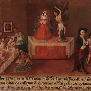 Exvoto de Lusiana Grande Axotlan a la Virgen de los Dolores y a San Sebastián