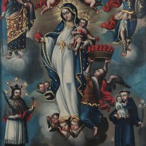 Virgen de la Luz acompañada de San José, San Miguel, San Juan Nepomuceno y San Antonio
