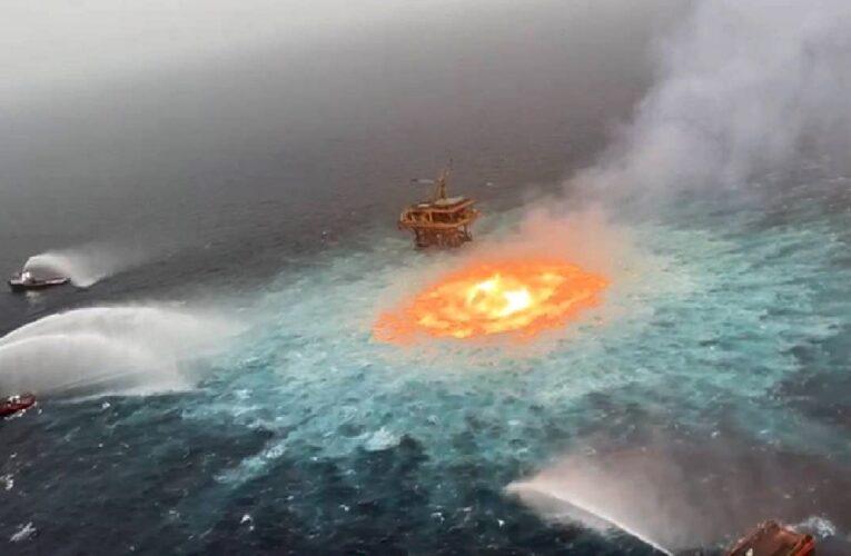 Se incendia tubería de petróleo en el Golfo de México