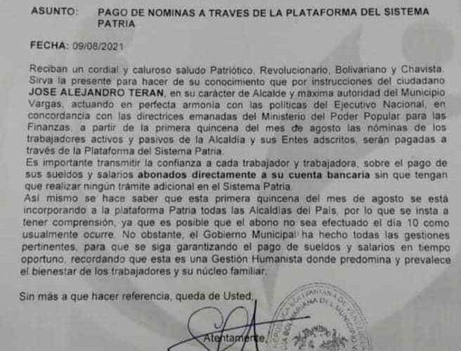 Trabajadores de la Alcaldía rechazan pago de nómina por Patria