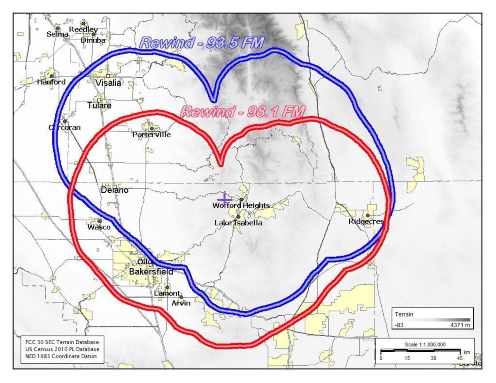 Rewind 98.1 & 93.5 Broadcasting Area. Bakersfield, Tulare,  Visalia, Delano, Taft, Porterville
