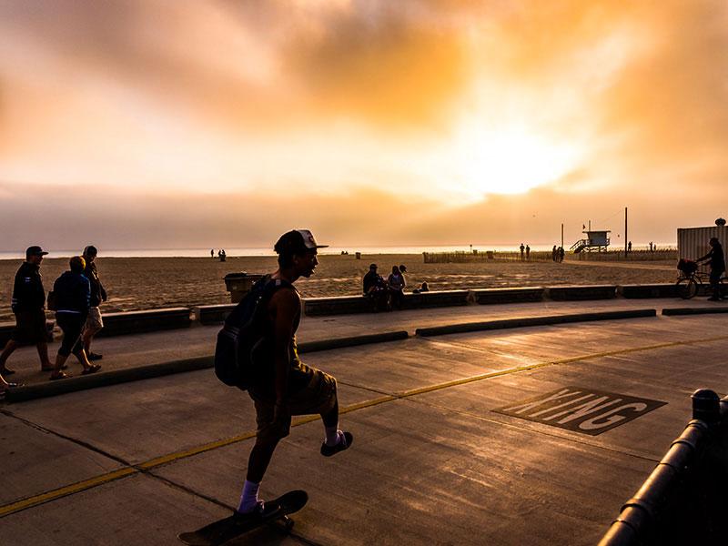 Skater at Santa Monica Beach By Rodezno Studios