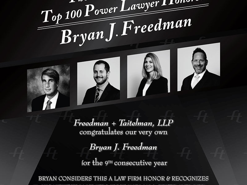 Freedman + Taitelman Ad on The Hollywood Reporter for Bryan Freedman receiving Top 100 Power Lawyer Honoree in 2016. Ad design by Rodezno Studios.