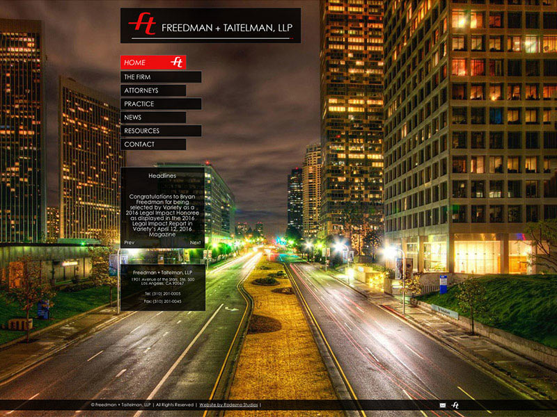 Home page of Freedman + Taitelman LLP website. A Century City Law firm. Website and branding by Rodezno Studios.