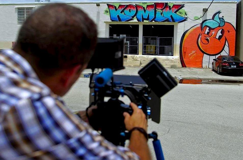 Photo of filmmaker Freddy Rodriguez shooting Graffiti in Hialeah