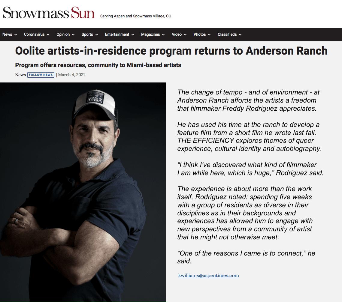 Photo of Filmmaker Freddy Rodriguez 2021 Oolite Arts residency