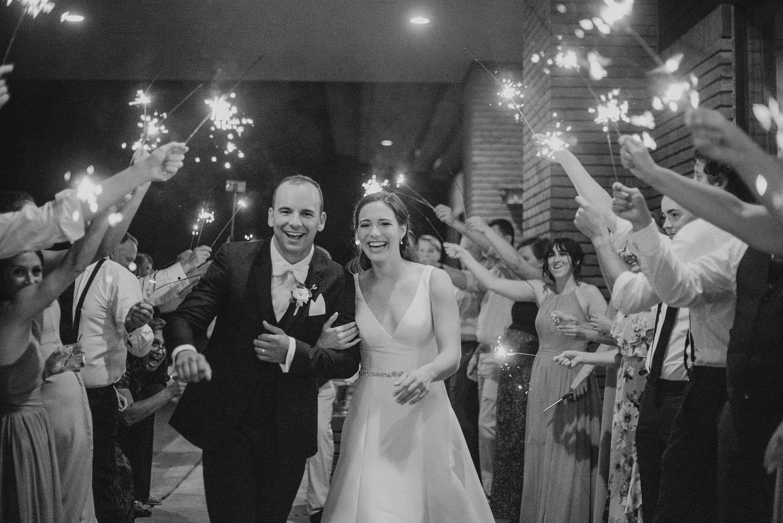 outdoor wedding reception sparkler send-off