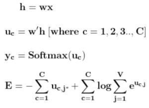 forward propagation of skipgram model