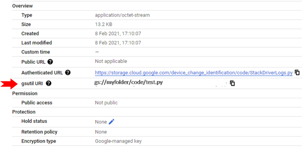 find gsutil path of a file in google cloud platform