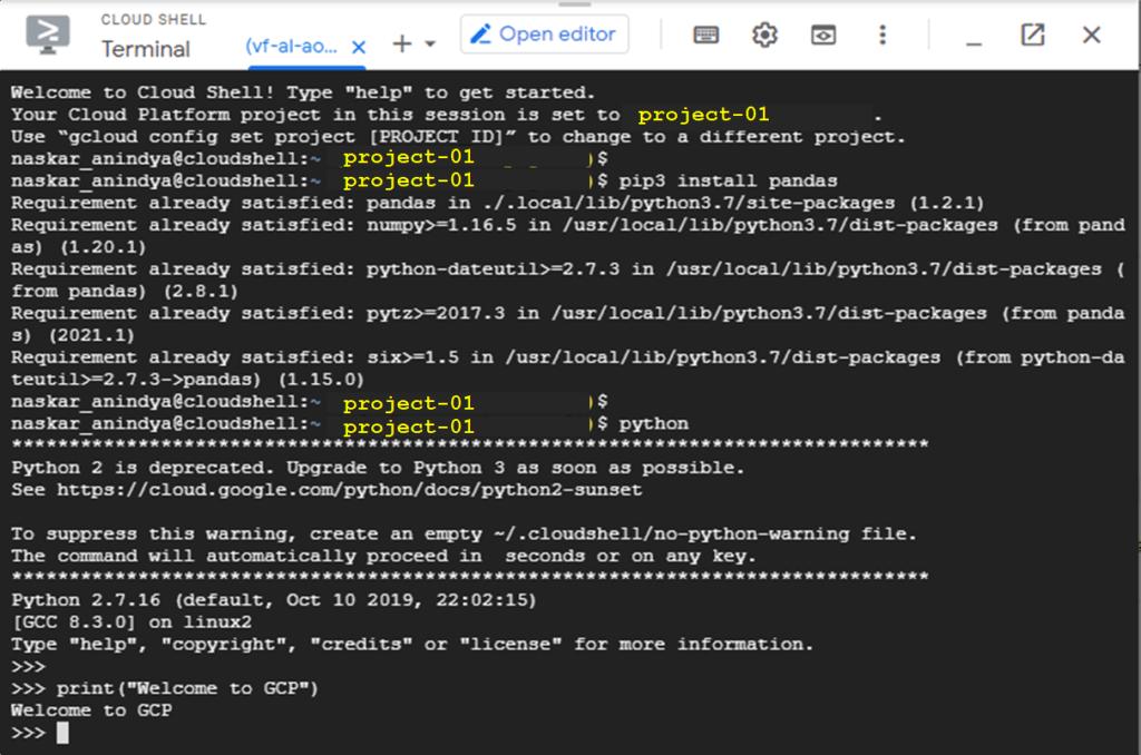 how to write python in google cloud platform