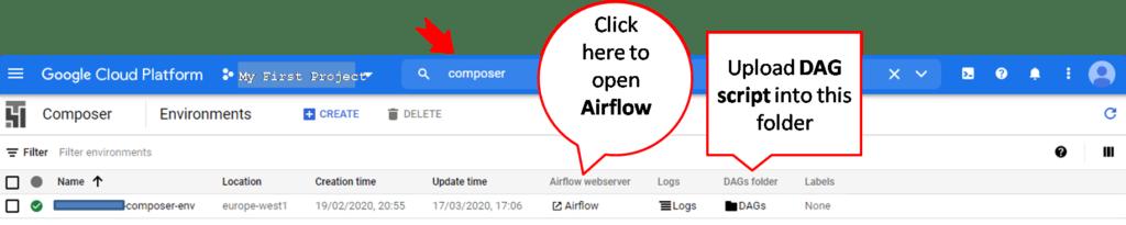 upload dag script into google cloud platform composer