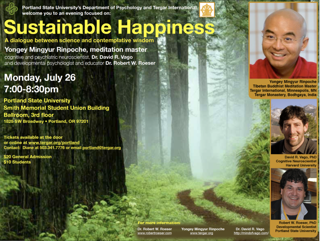 Dr. Vago presents to Dzogchen master Yongey Mingyur Rinpoche on Sustainable Happiness