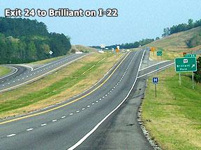 Exit 24 to Brilliant off I-22